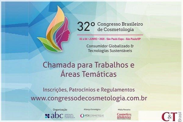 Congresso Brasileiro de Cosmetologia: chamada para trabalhos e áreas temáticas