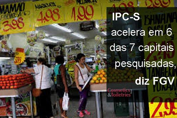 IPC-S acelera em 6 das 7 capitais pesquisadas, diz FGV