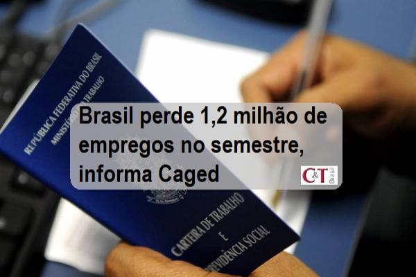 Brasil perde 1,2 milhão de empregos no semestre, informa Caged